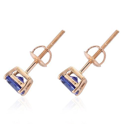 ILIANA 18K Yellow Gold AAA Tanzanite (Cush) Stud Earrings (with Screw Back) 1.250 Ct.