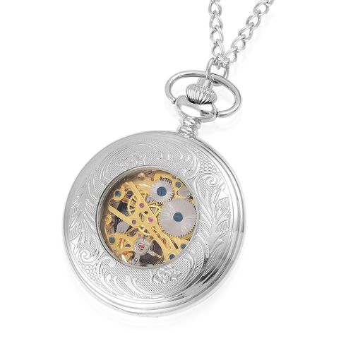 GENOA Automatic Skeleton Black and Golden Dial Water Resistant Pocket Watch with Cover and Chain (Size 31) in Silver Tone