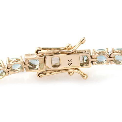 9K Yellow Gold 6.25 Ct AA Boyaca Colombian Emerald Tennis Bracelet (Size 7)
