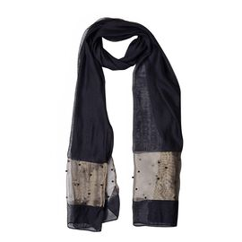 60% Silk Black and Golden Colour Beads Studded Scarf (Size 190x70 Cm)