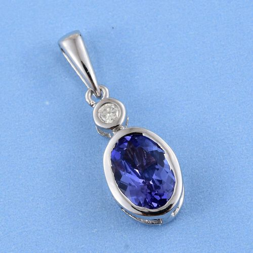 14K W Gold AA Tanzanite (Ovl), Diamond Pendant 1.000 Ct.