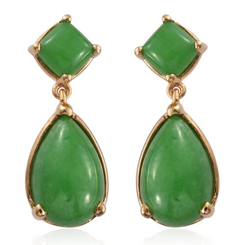 Green Jade (Pear) Earrings (with Push Back) in 14K Gold Overlay Sterling Silver 13.250 Ct.