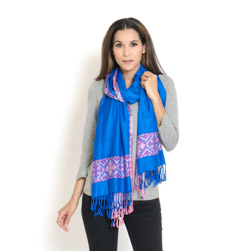 100% Viscose Scarf Quatrefoil Pattern Royal Blue, White and Pink Colour Jacquard Scarf with Fringes (Size 200x70 Cm)