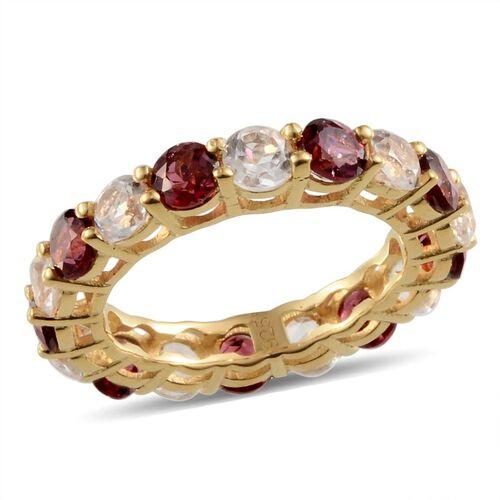 Rhodolite Garnet (Rnd), White Topaz Full Eternity Ring in Yellow Gold Overlay Sterling Silver 5.500 Ct.