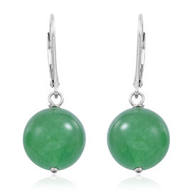 Verde Onyx (Rnd) Lever Back Earrings in Rhodium Plated Sterling Silver 24.000 Ct.