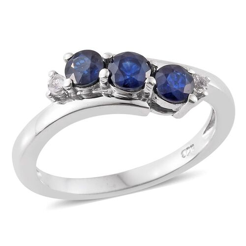 Kanchanaburi Blue Sapphire (Rnd), White Topaz Ring in Platinum Overlay Sterling Silver 1.000 Ct.