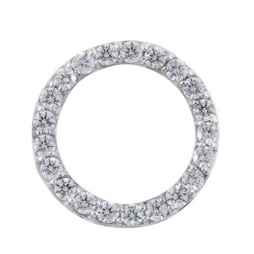 J Francis - Platinum Overlay Sterling Silver (Rnd) Circle of Life Pendant Made with SWAROVSKI ZIRCONIA