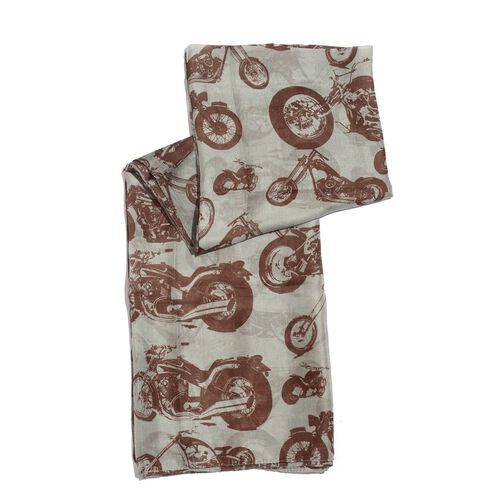100% Mulberry Silk Chocolate Colour Bike Pattern Grey Colour Scarf (Size 175x100 Cm)