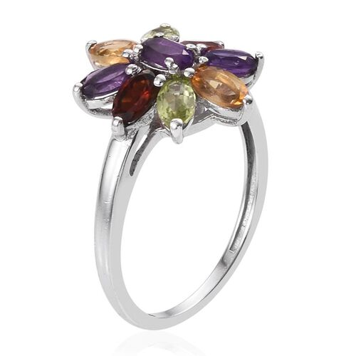 Amethyst (Ovl), Citrine, Hebei Peridot and Mozambique Garnet Floral Ring in Platinum Overlay Sterling Silver 2.000 Ct.