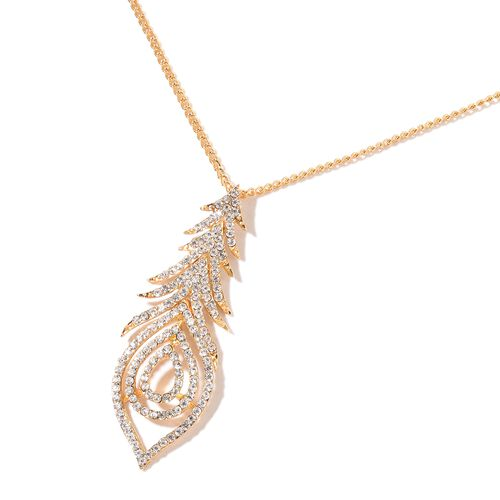 AAA White Austrian Crystal Peacock Feather Pendant with Chain (Size 20 with 3 inch Extender) and Earrings (with Push Back) Gold Plated
