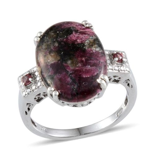 Natural Russian Eudialyte (Ovl 7.75 Ct), Rhodolite Garnet Ring in Platinum Overlay Sterling Silver 7.900 Ct.