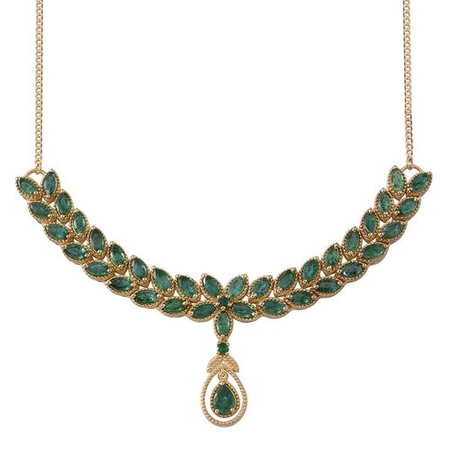 Kagem Zambian Emerald (Pear 0.50 Ct) Necklace (Size 18) in 14K Gold Overlay Sterling Silver 7.750 Ct.