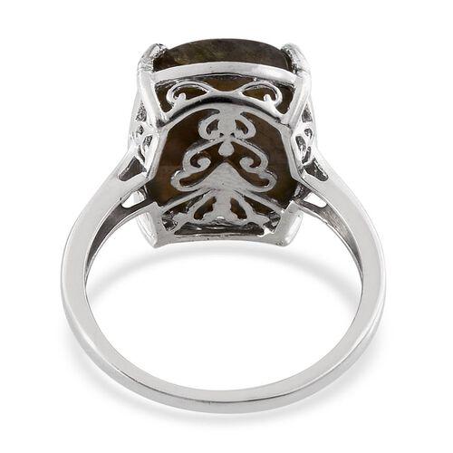 Labradorite (Cush) Ring in Platinum Overlay Sterling Silver 14.500 Ct.