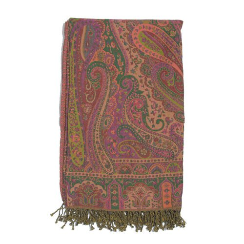 80% Cotton and 20% Merino Wool Green, Purple and Multi Colour Paisley Pattern Jacquard Throw with Tassels (Size 180X140 Cm)