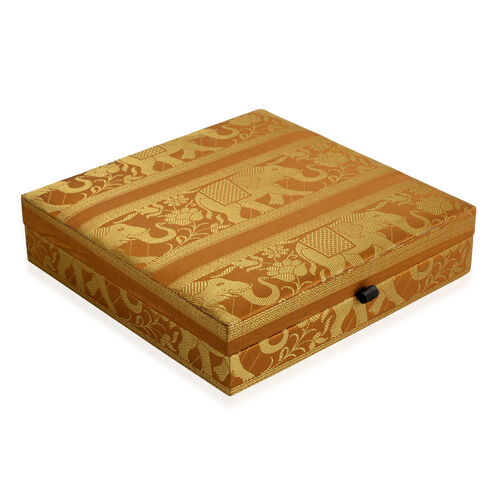 Hand Crafted Eco Friendly - Jacquard Elephant Weave Zari Art Work Brown Colour 100 Slot Ring Box (Size 25.5x25.5x6.5 Cm)