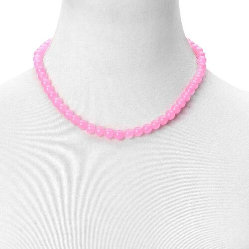 Rare Pink Jade Ball Beads Necklace (Size 18) with Magnetic Clasp in Rhodium Plated Sterling Silver 245.000 Ct.