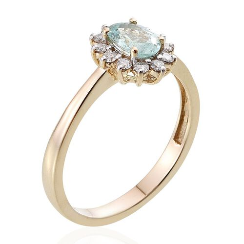 14K Y Gold Mozambique Paraiba Tourmaline (Ovl 0.85 Ct), Diamond Ring 1.100 Ct.