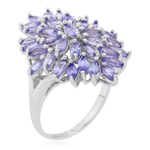 Limited Edition - AA Tanzanite (Mrq) Cluster Ring in Rhodium Plated Sterling Silver 4.500 Ct.35 Colour Matched Stones
