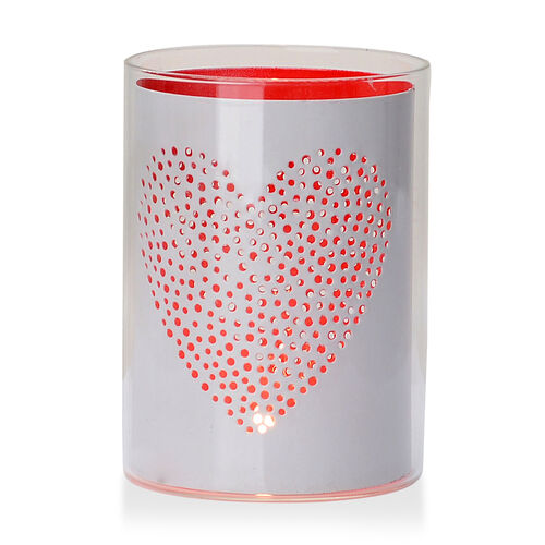 Home Decor - White Colour Heart Pattern Glass Candle Holder