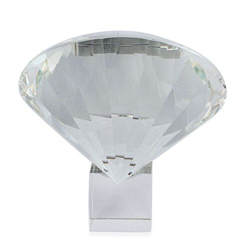 TJC Exclusive Diamond Cut White Glass Crystal with Stand (20cms) in a Gift Box