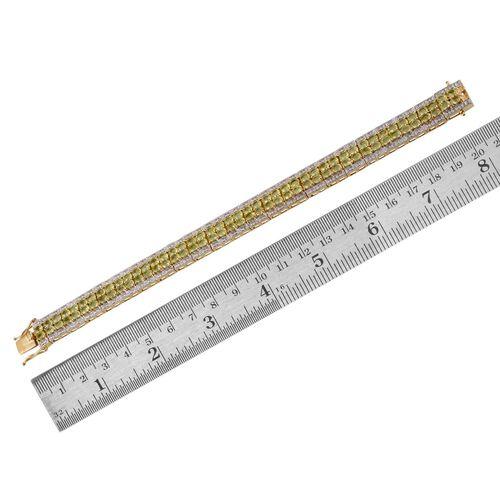 AA Hebei Peridot (Ovl), Diamond Bracelet in 14K Gold Overlay Sterling Silver (Size 7.5) 17.020 Ct.