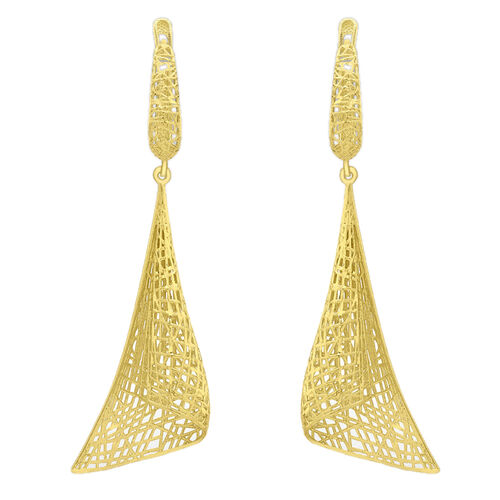 Designer Inspired- Limited Edition- 9K Y Gold Cone Drop Lever Back Earrings, Gold wt 3.44 Gms.