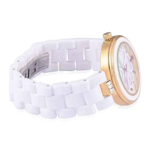 Burmese Ruby studded GENOA White Ceramic Japenese Movement White MOP Floral Dial Water Resistant Watch in Gold Tone with Stainless Steel Back with White Austrian Crystal
