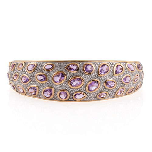 Amethyst (Ovl), Natural Cambodian Zircon Bangle (Size 7.5) in 14K Gold Overlay Sterling Silver 12.500 Ct.