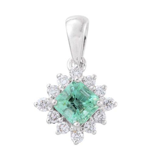 ILIANA 18K White Gold AAA Boyaca Colombian Emerald (Oct), Diamond (SI/G-H) Pendant 1.080 Ct.