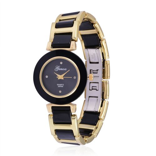 Diamond studded GENOA Black Ceramic Japenese Movement Black Dial Water Resistant Watch in Gold Tone with Stainless Steel Back