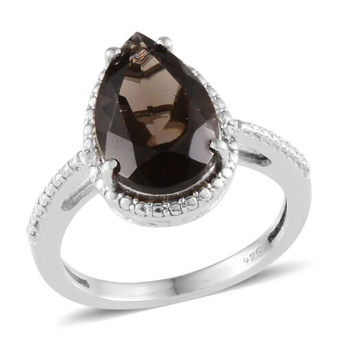 Brazilian Smoky Quartz (Pear 3.75 Ct), Diamond Ring in Platinum Overlay Sterling Silver 3.760 Ct.