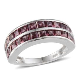Orissa Rhodolite Garnet (Sqr) Half Eternity Band Ring in Platinum Overlay Sterling Silver 3.500 Ct.