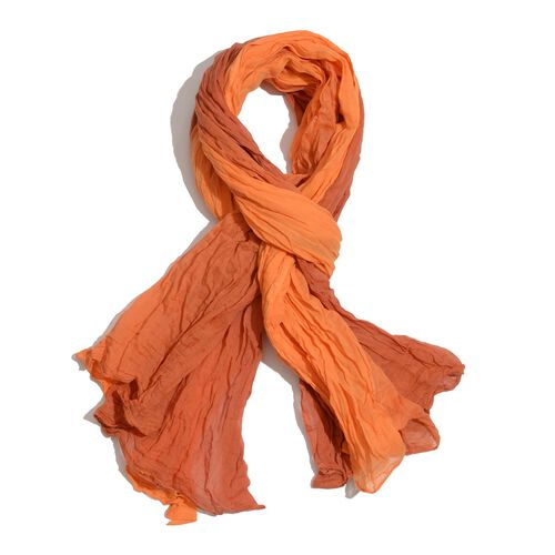 Set of 3 - 100% Cotton Green, Orange and Pink Colour Scarf (Size 175x110 Cm)