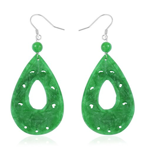 One Time Deal- Hand Carved Green Jade Tear Drop Hook Earrings in Rhodium Plated Sterling Silver 38.500 Ct.