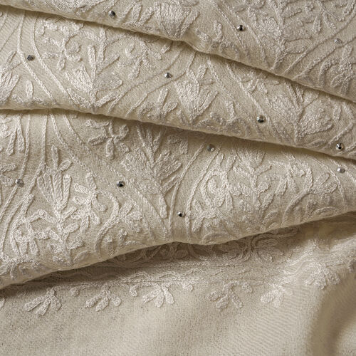 100% Merino Wool Cream and White Colour Embroidered Scarf (Size 190x70 Cm)