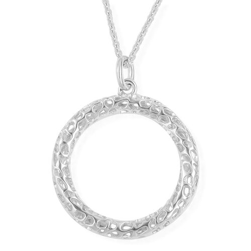 RACHEL GALLEY Rhodium Plated Sterling Silver Lattice Circle Pendant With Chain (Size 30), Silver wt. 12.34 Gms.