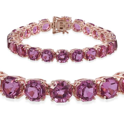 Kunzite Colour Quartz (Octillion Cut) Tennis Bracelet (Size 7.5) in Rose Gold Overlay Sterling Silver 54.500 Ct.