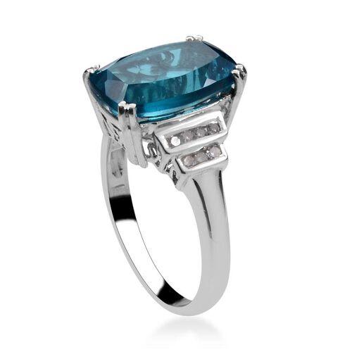Capri Blue Quartz (Cush 5.75 Ct), Diamond Ring in Platinum Overlay Sterling Silver 5.900 Ct.