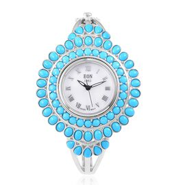 TJC Special- EON 1962 Swiss Movement Sleeping Beauty Turquoise Bangle Watch (Size 7.5) in Sterling Silver (Silver wt 45.05 Gms) 7.700 Ct.