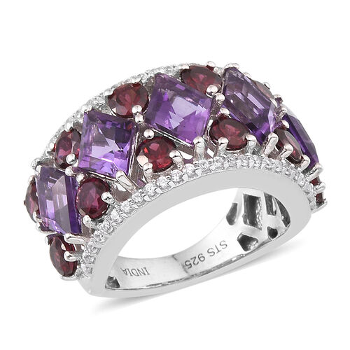 JCK Vegas Collection Amethyst (Kite), Rhodolite Garnet and Natural Cambodian Zircon Ring in Rhodium Plated Sterling Silver 5.210 Ct.