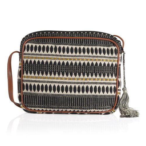 Black and White Colour Jacquard Crossbody Bag (Size 28x22x4.5 Cm)