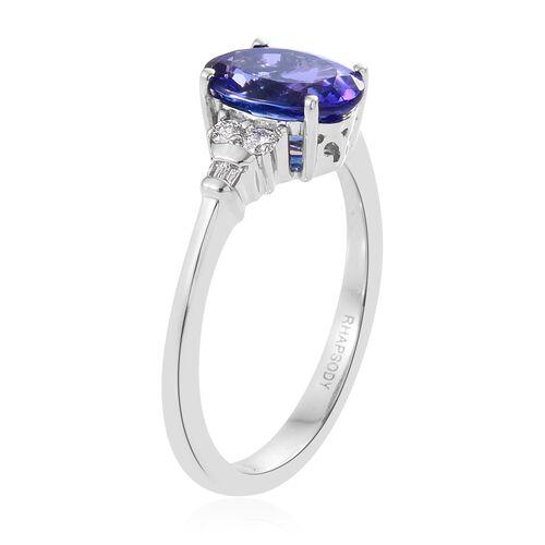 RHAPSODY 950 Platinum 2.05 Ct AAAA Tanzanite Ring with Diamond (VS/F), Platinum Wt. 5.03 gm