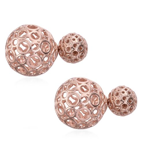 Rose Gold Overlay Sterling Silver Front and Back Stud Earrings (with Push Back), Silver wt. 8.02 Gms.