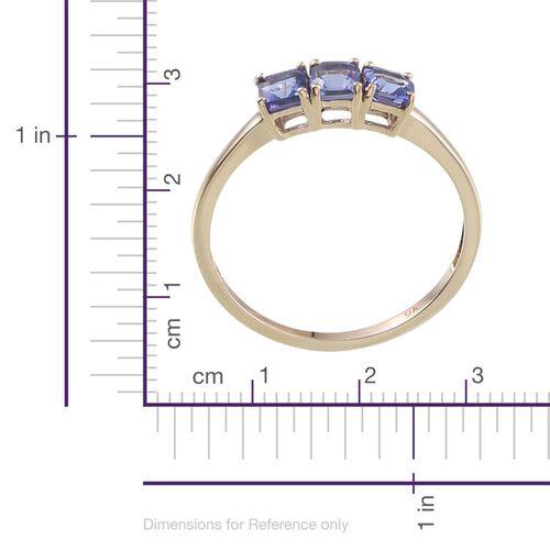 9K Yellow Gold Asscher Cut Tanzanite (Oct) Trilogy Ring 1.250 Ct.
