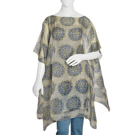 Brand New - 100% Mulberry Silk Off White, Blue and Green Colour Handscreen Printed Kaftan (Free Size)