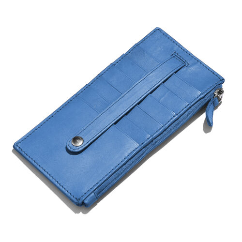 Genuine Leather RFID Blocker Blue Colour Ladies Wallet