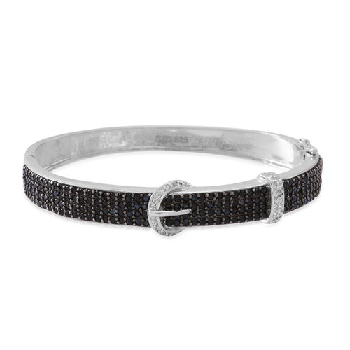 Boi Ploi Black Spinel (Rnd), White Topaz Buckle Bangle (Size 7.5) in Rhodium Plated Sterling Silver 5.000 Ct.