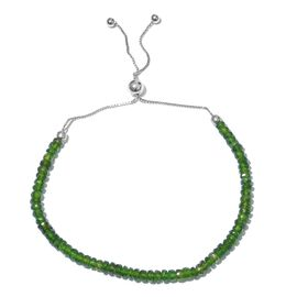 One Time Deal-Russian Diopside (Rnd) Adjustable Beads Bracelet (Size 6.5 to 9) in  Platinum Overlay Sterling Silver 11.200 Ct.