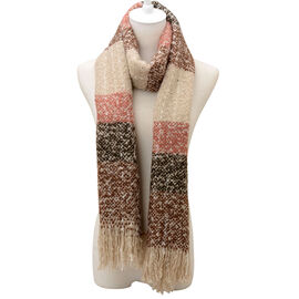 Chocolate and Multi Colour Scarf (Size 65x195 Cm)