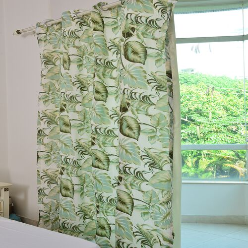 Green, Cream and Multi Colour Tropical Leaves Pattern Double Side Curtain (Size 230 X 167 Cm)